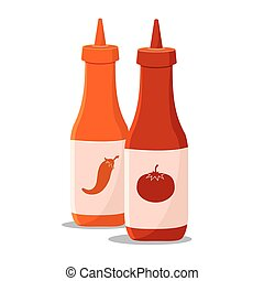 Chili and Tomato Sauce - Vector illustration of two bottle...