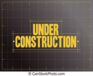 under construction sign illustration design over a black...