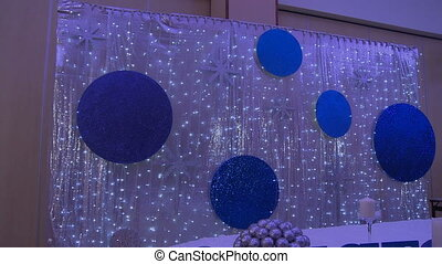 Cafe decorated for wedding in silver-blue tones - Restaurant...