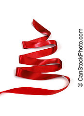 Stylized ribbon Christmas tree - Stylized red ribbon...