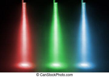 three color spotlights on stage