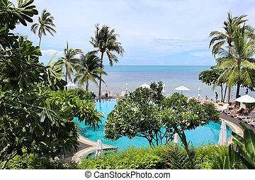 tropical landscape with swimming pool