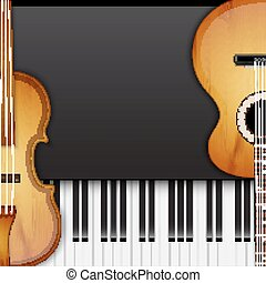 Background with violin, guitar and piano keys. Music...