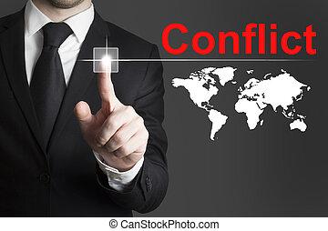 homem negócios, Empurrar, botão, conflito,...