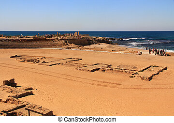 Hippodrome in Caesarea Maritima Nat - Hippodrome ruins in...