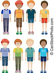 Eight faceless kids on a white background