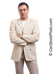 serious casual businessman isolated on a white background