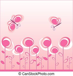 Creative design with whimsical flower and butterfly. See my...