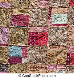 asiático, labor de retazos, alfombra, en, Leh,...