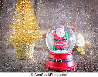 christmas background - Christmas decoration on the wooden...