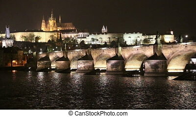 Charles Bridge at night Prague - Charles Bridge Stone...