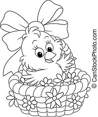 Easter Chick - Little chicken sitting in a basket with...
