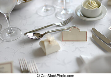 Place card on the festive table