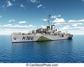 World War II ship of Canada - Computer generated 3D...