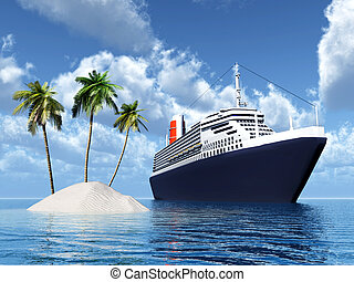 Island and Cruise Ship - Computer generated 3D illustration...