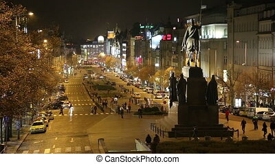 Night view of Wenceslas Square in the?New Town?of?Prague,...
