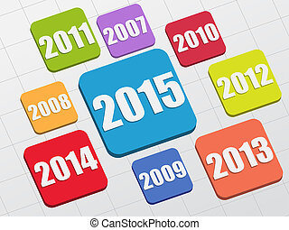 new year 2015 and previous years in 3d flat colored boxes,...