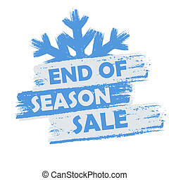 end of season sale banner - text in blue and white drawn...