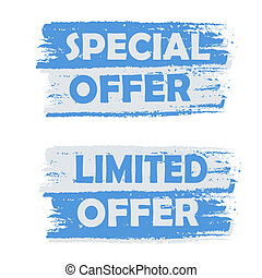 special offer, limited offer - text on blue drawn banner,...