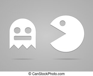 Paper Pacman, ghosts, 8bit retro game icons set. Vector illustration. EPS 10