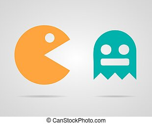 Pacman, ghosts, 8bit retro color game icons set Vector...