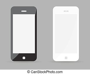 Two realistic smartphone concept - black and white with blank screen. Highly detailed responsive realistic smart phone mockup isolated on gray background. Vector illustration EPS10