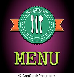 Vector illustration card. Restaurant menu label with flatware icon - knife, spoon, fork. EPS10