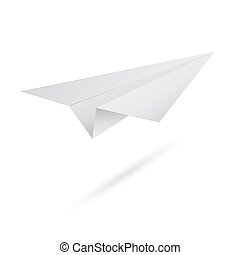 Vector illustration of origami flying paper airplane on white background. Abstract aircraft with shadow. EPS10