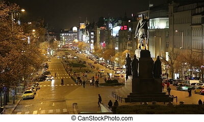 Wenceslas Square, Prague - Night view of Wenceslas Square in...