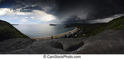 Supercell storm over Broken Bay Pearl Beach NSW Australia -...