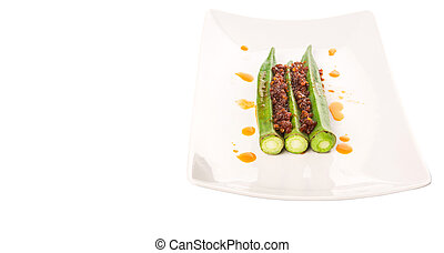 Boiled Raw Okra With Sambal - Boiled raw okra or ladies...