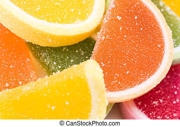Fruit Jelly Background - Colored Fruit Jelly Group...