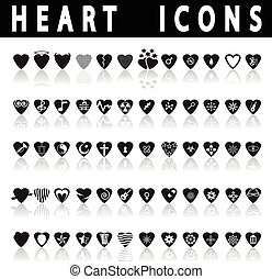 Heart Icons on a white background with shadow