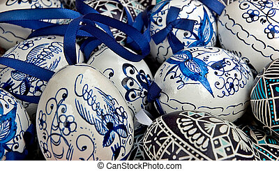 Blue easter eggs - Blue and white easter eggs with ribbon -...