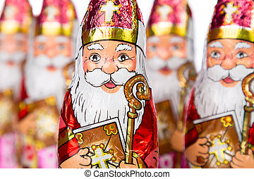 Sinterklaas . Dutch chocolate figure - Close up of...