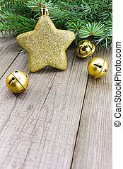 Christmas jingle bells with golden star - Golden star with...