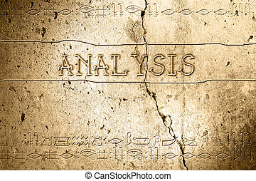 analysis - word analysis on wall with egyptian alphabet made...