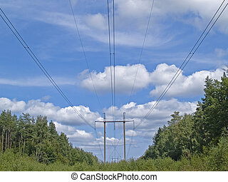 Air line of high power - Line of high power on background...