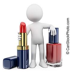 3D white people. Woman with lipstick and nail polish - 3d...