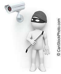 3D white people. Thief hiding from a security camera - 3d...