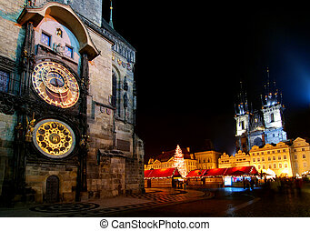 Christmas Prague - Old Town Square in Prague with Tyn...