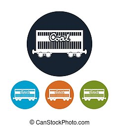 Icon the railway freight car for coal, vector illustration -...