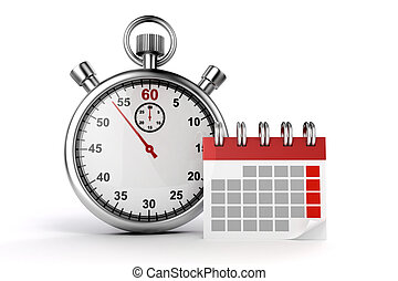 3d calendar and stopwatch on white background