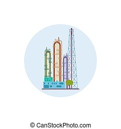 Icon of a chemical plant or refinery processing , vector...
