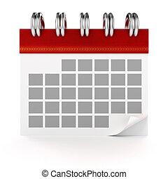 3d calendar on white background
