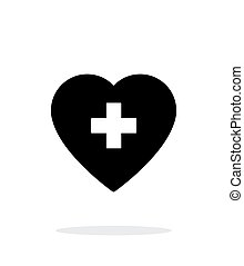 Heart with medical cross icon on white background.