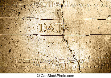 data - word data on wall with egyptian alphabet made in 2d...
