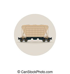 Icon hopper car for transportation freights, vector...