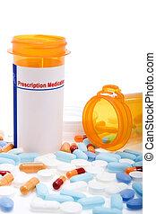 Prescription drugs over white - Stock image of prescription...