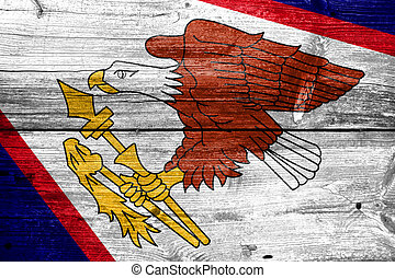 American Samoa Flag painted on old wood plank texture